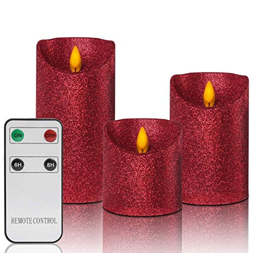 Christmas Flameless Candles Battery Operated with Remote, Real Moving Flame Decorative Electric LED Candle Sets Real Wax Flickering Pillar Candles Lights Bulk, 4' 5' 6' Pack of 3, Red