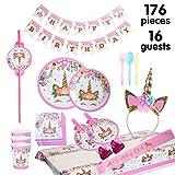 Set di articoli per feste unicorno e set di stoviglie 176 pezzi per 16 persone, kit di dec...