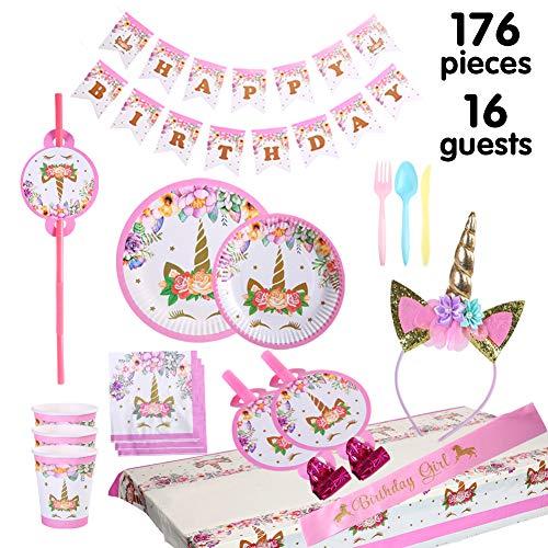 Set di articoli per feste unicorno e set di stoviglie 176 pezzi per 16 persone, kit di decorazioni di compleanno per ragazze - Zigoli di compleanno, piatti, tazze, tovaglioli, cannucce, fischietti…