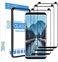 (3 Pack) Tempered Glass Screen Protector for Samsung Galaxy S9 Plus FOVAL 3D Curved Dot Matrix with Alignment Tool (Case Friendly)