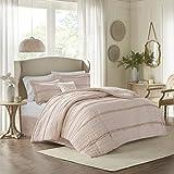 Madison Park Comforter Set-Textured Luxury Design All Season Down Alternative Bedding, Matching Sham, Decorative Pillows, Queen(90'x90'), Celeste, Ruffle Pink, 5 Piece