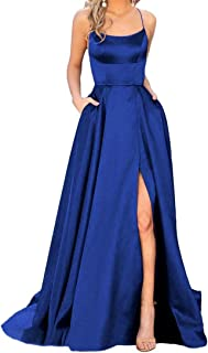Halter Prom Dresses Long A-Line Split Evening Gowns With Pockets 2019