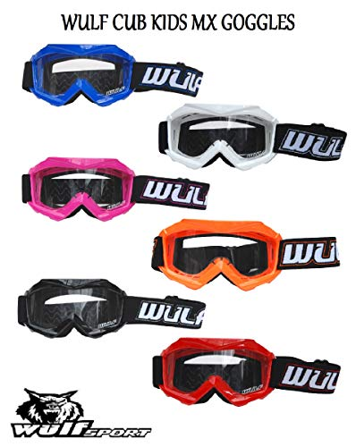 Wulf Sport Cub Kids Kinder Tech Goggles MX Motocross Brille weiss