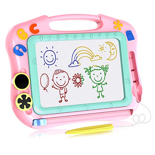 LOFEE Magna Drawing Doodle Board Present for 1 2 3 4 Year Old Girl,Magnetic Drawing Board Gift for 2 3 4 Year Old Girl Toy Age 1 2 3 Birthday Gift for 2 3 4 Year Old Girls Small Toys for Travel SLHFPX