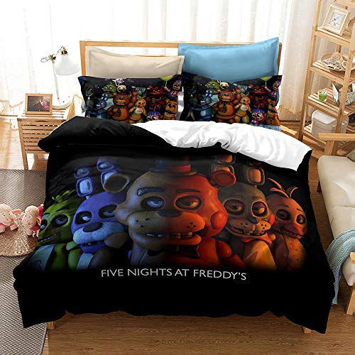 JSYJ 3D Five Nights At Freddy's Duvet Cover Set Children Kids Boys Favorite Cartoon Game Bedding Set 100% Microfiber Full Size Bed Set, 1/2 Pcs Pillow Case (Size : Us 203 * 228cm)