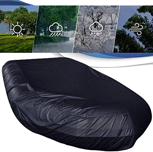 WSZYBAY Inflatable Boat Cover, Waterproof Heavy Duty Antidust Antisnow Rubber Boat Covers, Marine Grade Polyester Canvas Trailerable Dinghy Fishing Kayak Cove (Color : Black, Size : 90x37x18in)