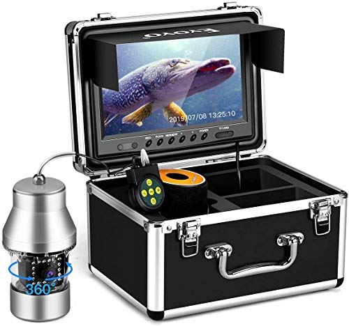 Eyoyo Underwater Fishing Camera Video Fish Finder DVR Function 9 inch Large Color Screen 360° Horizontal Panning Camera 1000TVL w  18 Infrared IR Lights 30M Cable for Lake Sea Boat Ice Fishing