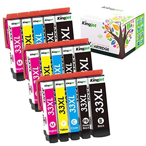 Kingjet Compatibile Epson 33 33XL Cartucce d'inchiostro per Epson Expression Premium XP-640 XP-530 XP-830 XP-635 XP-630 XP-540 XP-645 XP-900 (3 Nero/3 Nero Foto/3 Ciano/3 Magenta/3 Giallo) 15 Pack