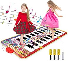 """RenFox Kids Musical Piano Mat - Duet Keyboard Play Mat 20 Keys Floor Piano with 8 Instrument Sound, 5 Paly Modes Dance Pad, Early Educational Toys & Gift for 3+ Years Old Boys Girls(55"""" x 28"""" )"""