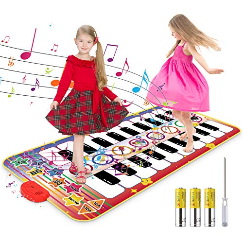 "RenFox Kids Musical Piano Mat - Duet Keyboard Play Mat 20 Keys Floor Piano with 8 Instrument Sound, 5 Paly Modes Dance Pad, Early Educational Toys & Gift for 3+ Years Old Boys Girls(55"" x 28"" )"