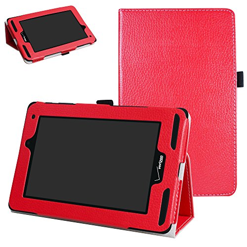 Mama Mouth for Verizon Ellipsis 7 4g LTE Case,Slim Folio 2-Folding Stand Case Cover for 7 Verizon Ellipsis 7 4g LTE Tablet,Red