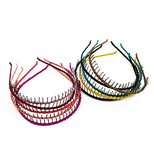 AUEAR 10 Pcs Vintage Metal Headband with Teeth Ribbon Wrapped Teeth Comb Hair Hoop Hairband for Women Girls