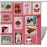 Bennigiry Duschvorhang für Süßigkeiten & Desserts, Polyester, 152,4 x 182,9 cm, schimmelresistent, geruchlos, wasserdicht, dekorativer Badvorhang, Polyester, mehrfarbig, 72x72in