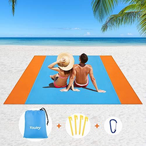 Stranddecke Picknickdecke Wasserdichte XXL,Stranddecke 200x200cm Sandfrei Große Strandmatte Strandtuch Decke Mit Reißverschlusstaschen 4 Stangen Campingdecke für Strand, Camping, Wandern, Picknick