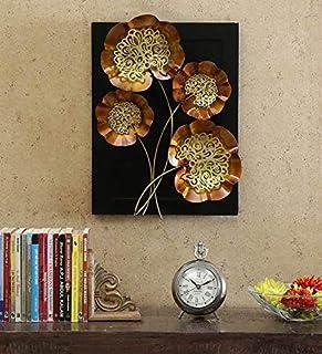 World Decor IRON METAL 4 Jali Leaf Wall Decor ON Board (14 x 03 x 19 in)