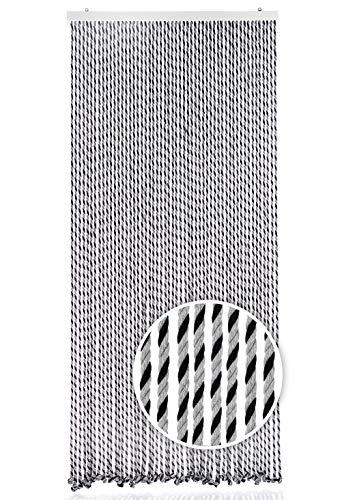Kobolo Seilvorhang Türvorhang Black/Grey 54 Stränge Dekovorhang