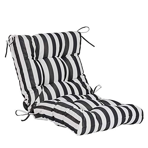 QILLOWAY Outdoor Seat/Back Chair Cushion Tufted Pillow, Spring/Summer Seasonal All Weather Replacement Cushions. (White&Black Stripe)