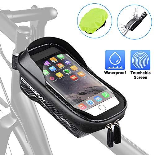 Oziral Fahrrad Rahmentasche Wasserdichter Fahrradtasche Oberrohrtasche Handytasche mit Sonnenblende TPU Touchscreen Fahrrad Handyhalter für Smartphones bis 6.5 Zoll