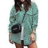 FeMereina Mujeres Botón abajo Camisas Houndstooth Loose Slim Fit manga larga solapa Cardigan Chaquetas Y2K Casual Streetwear Outwear, verde, S