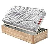 pikolin - Canapé Abatible Madera Apertura Lateral y colchón muelles normablock, envío y Montaje Incluido. - Roble, 90x190cm