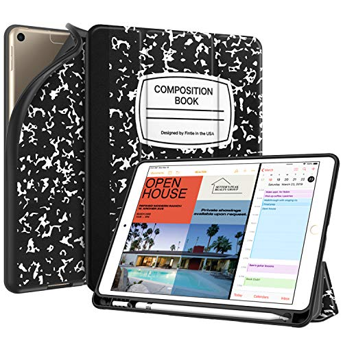 Fintie SlimShell Case for iPad Air 3rd Gen 10.5' 2019 / iPad Pro 10.5 Inch 2017 with Built-in Pencil Holder - Lightweight Smart Stand Soft TPU Back Cover, Auto Wake/Sleep (Composition Book)