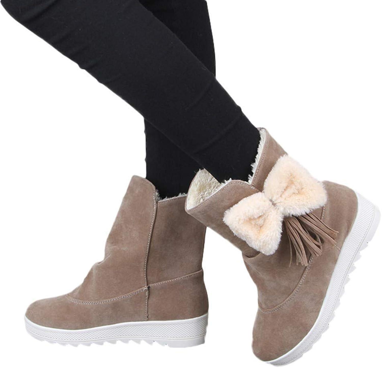 KAOKAOO Women Warm Snow Boots Mid Calf Boots Fashion Fur Furry Bow Flat shoes
