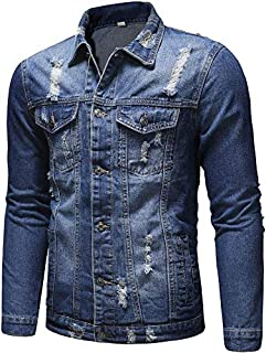 Mens Washed Classic Ripped Motorcycle Denim Jacket Vintage Distressed Coat Outwear