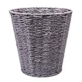 woodluv Round Waste Paper Basket Bin - Rubbish Bin for Bedroom, Bathroom, Offices or Home - Grey