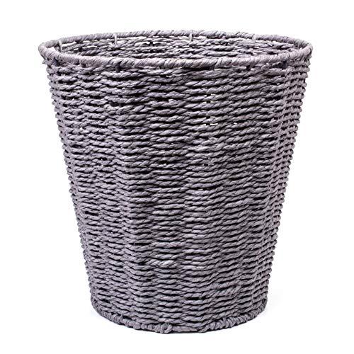 woodluv Round Waste Paper Basket Bin - Rubbish Bin for Bedroom, Bathroom, Offices or Home - Grey