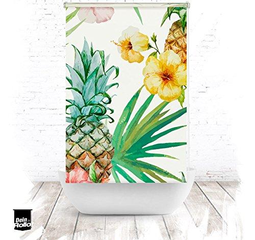 EXTARTIQE Duschrollo Ananas Blüten Duschvorhang Textil für Badewanne oder Dusche