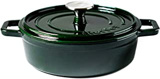 Shallow Dutch Oven Casserole Round Cast Iron Cocotte 22cm/1.95L with Non-stick Enemal Coating, Versatile saucepan with lid, Dark Green