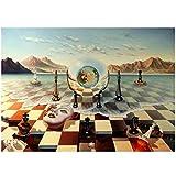 ZQXXX Salvador Dali Surrealismus Schach auf Meer Leinwand