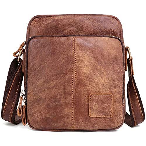 SYXX Retro-Schulter Crossbody-Tasche Männer Reise-Business Messenger Bag Echtes Leder Handtasche Wasserdichte Arbeits Teenager College-Campus Outdoor-Camping-Daypacks Lässige Vintage-Leder-Männer Tasc