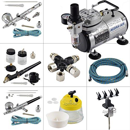 Agora-Tec® Airbrush Komplett-Set EXPERT XI.13, inkl. Kompressor mit 4 bar und 20l/min + 3 Airbrushpistolen mit 0,2 & 0,3 & 0,5 & 0,8mm Nadeln/Düsen + 3-fach Luftdruckverteiler + 4-fach-Halter + Clean-Pot + 3 Schläuche + Adapter