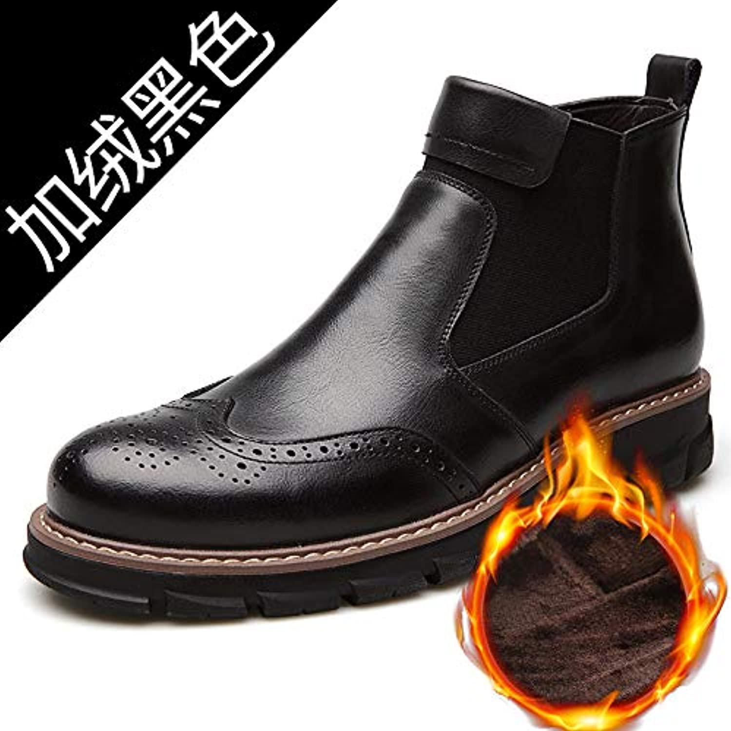 LOVDRAM Men'S Leather shoes Winter Men'S shoes Casual Wild High Help Brock Men'S shoes Casual shoes