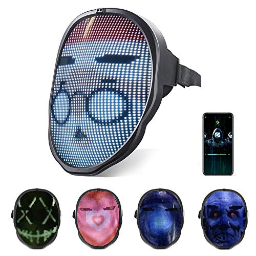 Light Up LED Face Mask - Smart Bluetooth APP Controlled Mask, Cool Programmable Masks with Digital Display, Support DIY Image/Texts and Music Rhythm for Halloween Cosplay Party Dancing Rave
