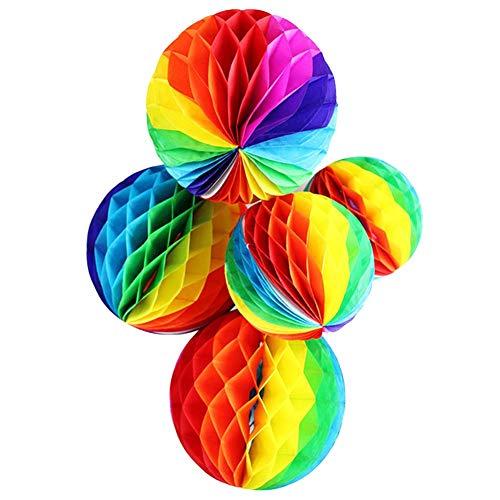 JXS-Wedding Bolas de Nido de Abeja de Papel de Arco Iris Que cuelgan decoración Boda del Arco Iris de la Fiesta de jardín