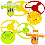 ArtCreativity 2 in 1 Speed Top Flyer, Set of 6, Each Set Includes 1 Top, 2 Discs, and 1 Launcher, Fun Spinning Toys for Kids, Cool Birthday Party Favors and Goody Bag Fillers for Children