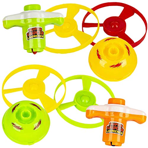 ArtCreativity 2 in 1 Speed Top Flyer Set of 6 Each Set Includes 1 Top 2 Discs and 1 Launcher Fun Spinning Toys for Kids Cool Birthday Party Favors and Goody Bag Fillers for Children