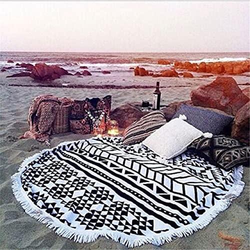 IAMZHL Toalla de Playa Redonda de Microfibra con Borla Impresa de Secado rápido Mantón de Playa Estera de Yoga Estera-a17-150cm