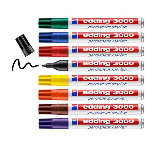 Edding 3000 marcador permanente - caja metálica de 8 colores - punta...