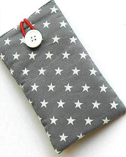 Handytasche aus Stoff - STERNE AUF GRAU - mit Knopf für APPLE® iPhone® 11 / Xr/X R / 10r / 10 R - gepolsterte Hülle für Smartphone/Handyhülle - Geschenk Geburtstag