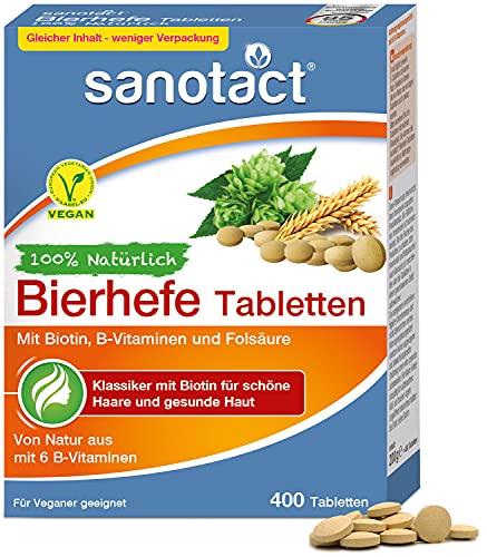 sanotact Bierhefe Tabletten • 400 Tabletten • 100% natürliche Bierhefe vegan • Mit Biotin für schöne Haare und gesunde Haut • Inklusive 6 B-Vitaminen