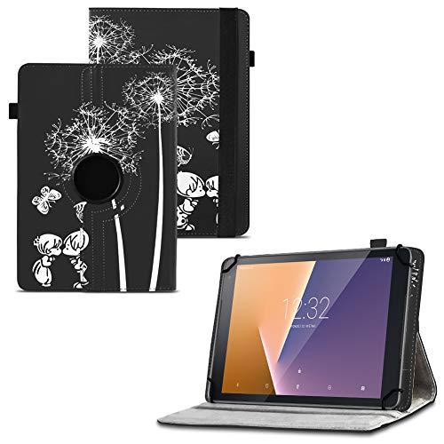 UC-Express Tablet Schutzhülle kompatibel für Vodafone Tab Prime 6 Hülle Tasche Universal Cover Hülle aus Kunstleder Standfunktion 360° Drehbar, Farben:Motiv 12