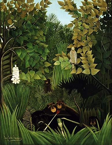 Les Joyeux Jesters par Henri Julien Rousseau. 100% peint à la main. Reproduction de haute qualité. Livraison gratuite (non encadrée et non étirée). Taille de la peinture: 111,8 x 56 cm.