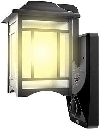 HOMSCAM Sensor de movimiento LED Luces de seguridad 1080P Cámara exterior Video Luz Luz de pared impermeable Linterna de seguridad para el hogar con detector de movimiento PIR para jardín