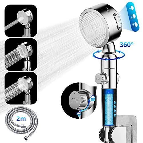 GEEKBES Duschkopf Handbrause Hochdruck 3-in-1-Hochdruck mit 2M Schlauch Wassersparend EIN/Aus-Pause EIN Aus, 360 ° -Drehung Chrom-Sprühduschköpfe Geeignet für Badezimmerduschenzubehör
