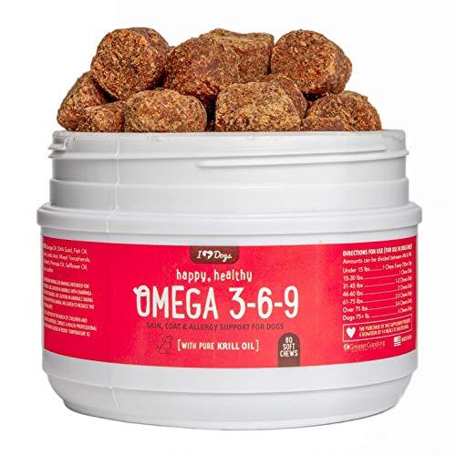 iHeartDogs Happy Healthy Omega 3-6-9 Select Grain Free Skin & Coat Chews with Pure Antarctic Krill Oil (60)