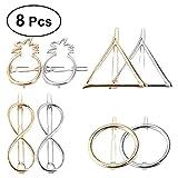 Frcolor Pinces à Cheveux pour Femmes - Accessoires pour Barrettes Cheveux Ananas Triangle Géométrique, 8 Pièces