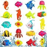20 peces artificiales móviles de plástico flotantes para acuario (medusas y caballitos de mar)